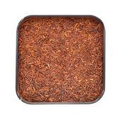 Natural organic rooibos in a tin. — Stock Photo