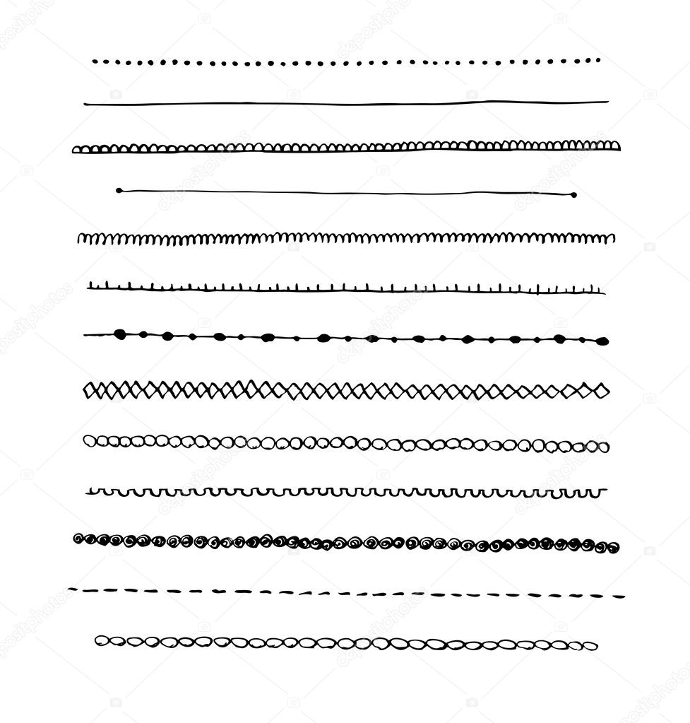 Ink Hand Drawn Line Border Set Stock Photo 169 Geo