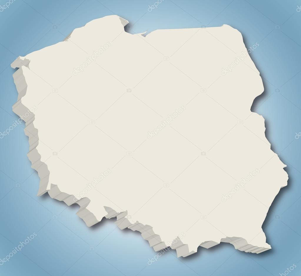 波兰在蓝色渐变背景的 3d 矢量地图– 图库插图