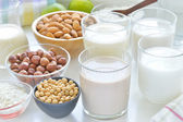 Different vegan milks. — Stock Photo