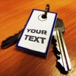Key with tag for text — Stock Photo
