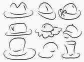 Set of 9 vector silhouette hats — Stock Vector