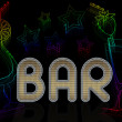 Stock Photo: Sign for bar with cocktails and neon stars on black background