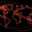Glowing fiery contour map of the world on black background — Stock Photo