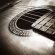 Acoustic Guitar with shallow depth of field, focus on — Stock Photo