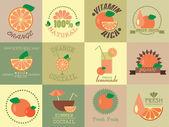 新鮮なオレンジ ジュースとレトロなアイコンのベクトルを設定 — ストックベクタ