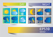Vector set of icons for weather forecast — Stock Vector