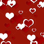 Bright red festive seamless background with hearts — Foto de Stock