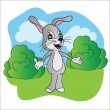 Bright vector illustration hare on meadow — Vettoriale Stock  #50666301