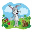 Bright vector illustration hare on meadow — Vettoriale Stock  #50667867