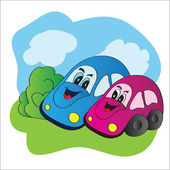 Bright vector illustration love cars — Stock Vector
