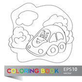 Vector illustration of car on the summer meadow coloring book — Stock Vector