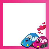 Bright vector frame love cars — Stock Vector