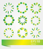 Vector illustration set of bright green icons for design and sites — Stock Vector