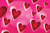 Vector red background with hearts — Stock Vector