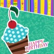Vector card with birthday cake — Stock Vector