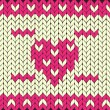 Knitted vector heart — Stockvectorbeeld
