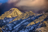 Sunset Clouds Over Snowy Pines HDR — Stock Photo