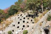 Yoshimi hyakuana starých hrobech pohřebiště, yoshimi, saitama, japonsko — Stock fotografie