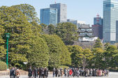 TOKYO, JAPAN - March 7,2014: People visit Fujimi-yagura (Mt Fuji-view Keep),Imperial Palace.The Imperial Palace is only accessible by guided tour only in Japanese. — Stock Photo