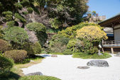 "KAMAKURA, JAPAN - MARCH 22 2014: Japanese garden at Hokokuji Temple. It is an old temple in the  Rinzai sect of Zen Buddhism. Famous for its bamboo garden, it is also known as ""Bamboo Temple"". — Stock Photo"