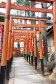 TOKYO, JAPAN - APRIL 1 2014: Torii gates in Hanazono-inari Shrine on April 1, 2014 in Ueno Park. Ueno Park was established in 1873 on lands formerly belonging to the temple of Kan'ei-ji. — Stock Photo