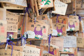 TOKYO, JAPAN - APRIL 1 2014: Wooden prayer tablets at a Ueno Toshogu shrine in Ueno Park on  April 1, 2014. Pray for happiness ,good life ,healthy ,peace ,luck by write praying word in wooden tablet. — Стоковое фото