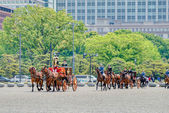 TOKYO, JAPAN - May 7 2014:Horse-drawn carriages at the Ceremony of the Presentation of Credentials, Imperial Palace. (Newly appointed Ambassador Extraordinary and Plenipotentiary of Serbia to Japan) — Stock Photo