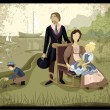 Royalty-Free Stock Vector Image: Vintage family portrait