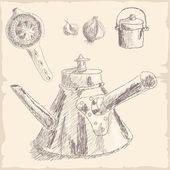 Mão desenhada cozinha conjunto de ferramentas - bule — Vetor de Stock