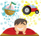 Man dreaming of yacht and luxury car. — Stock Vector