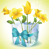 Yellow flowers in a square glass vase — Stock Vector