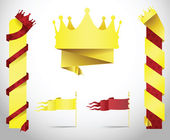 King crown banners in paper folded style. — Stock Vector