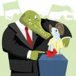 Vector de stock : Crocodile agitating sheep to vote.