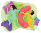 Sleeping children - twins. — Stock Vector