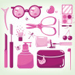 Glamour set of cosmetic tools — ベクター素材ストック