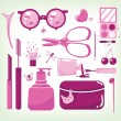 Stock Vector: Glamour set of cosmetic tools