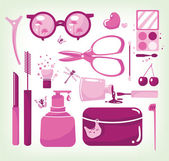 Glamour set of cosmetic tools — Stock Vector