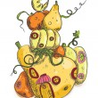 Hand drawn illustration of pumpkin house for Halloween. — Imagens vectoriais em stock