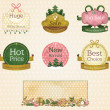 Set of vintage ornate product labels — Stock Vector