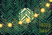 仮庵の祭り - ユダヤ人の例示挨拶秋の休日. — ストックベクタ