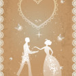 Stock Vector: Wedding couple in retro style
