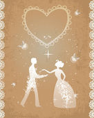 Wedding couple in retro style — Stock Vector