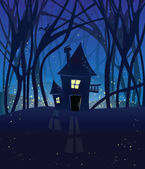 Night magic scene with a house in the woods. — Stock Vector