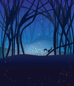 Night magic scene with fireflies and running squirrel. — Stock Vector
