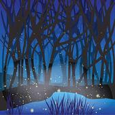Night magic scene with fireflies. — Stock Vector