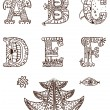 Stock Vector: Ornamental alphabet