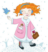 Winter girl and her bird friend. — Stock Vector
