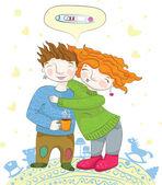 Влюбленная пара, ожидающая ребенка. — Cтоковый вектор