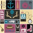 Stock Vector: Hipster thematic elements.